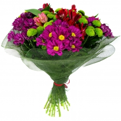 Bouquet of flowers in green package